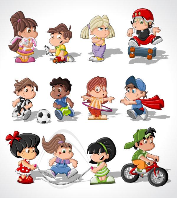 Different Cartoon Children elements vector material 04