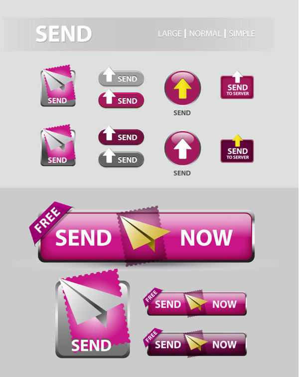 Elements of Creative web button design vector material 24