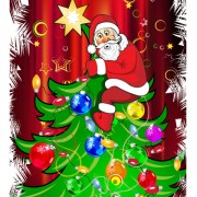 Link toFunny santa claus and christmas tree vector
