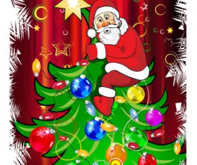 Funny Santa Claus and Christmas tree vector