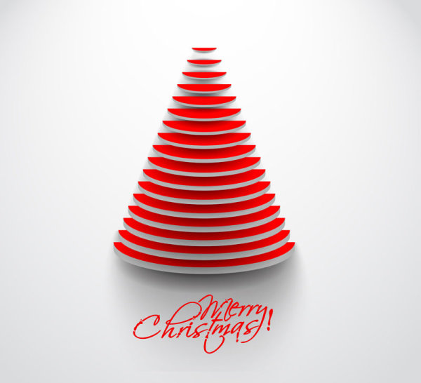 Paper cut Christmas tree design vector 02 free download