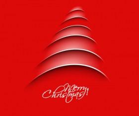 Paper cut Christmas tree design vector 04