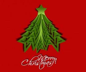 Paper cut Christmas tree design vector 05