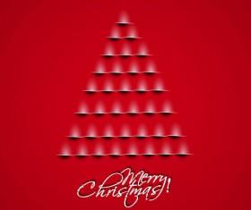 Paper cut Christmas tree design vector 06