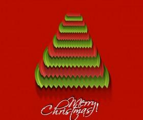 Paper cut Christmas tree design vector 10