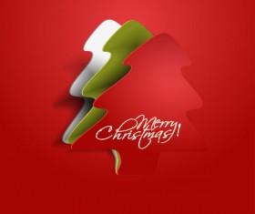Paper cut Christmas tree design vector 11