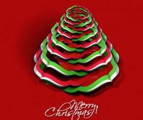 Paper cut Christmas tree design vector 12