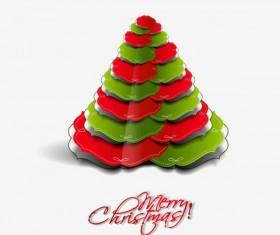 Paper cut Christmas tree design vector 13
