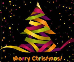 Paper cut Christmas tree design vector 14