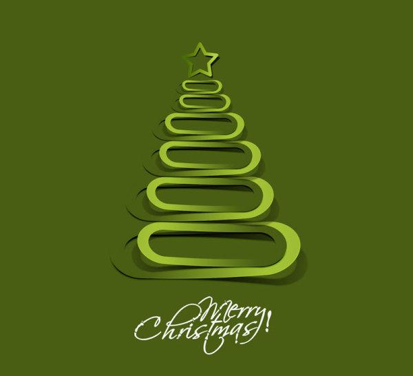 Paper cut Christmas tree design vector 15