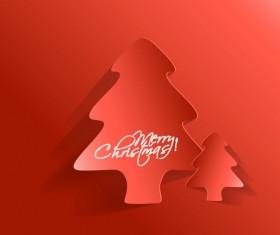 Paper cut Christmas tree design vector 21