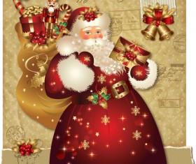 ornate greeting card of Santa Claus vector graphics 01