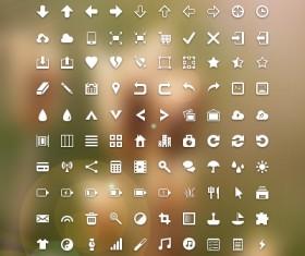 White commonly mini icon set
