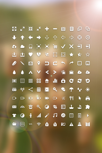 White Commonly Mini Icon Set Free Download
