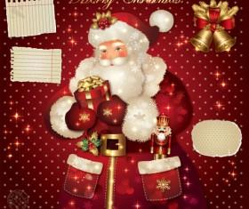 ornate greeting card of Santa Claus vector graphics 02