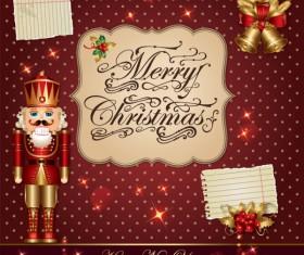 ornate greeting card of Santa Claus vector graphics 03