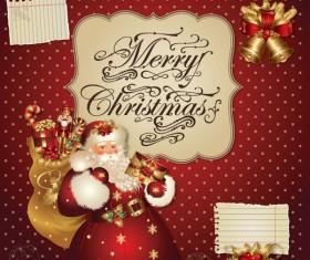 ornate greeting card of Santa Claus vector graphics 05