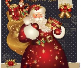ornate greeting card of Santa Claus vector graphics 06