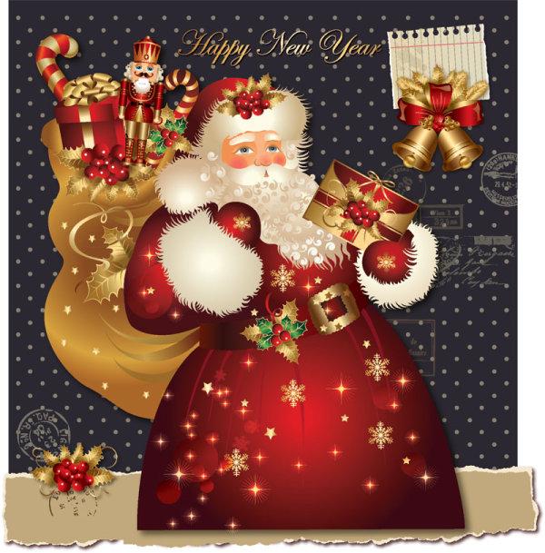 ornate greeting card of santa claus vector graphics 06 - Santa Claus Christmas Cards