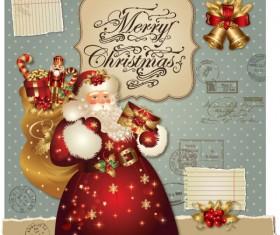 ornate greeting card of Santa Claus vector graphics 08
