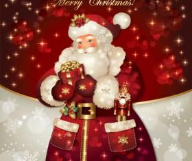 ornate greeting card of Santa Claus vector graphics 09