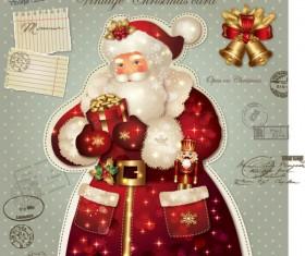 ornate greeting card of Santa Claus vector graphics 10