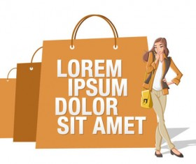 Stylish Girl with Shopping bags elements vector 01