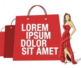 Stylish Girl with Shopping bags elements vector 02