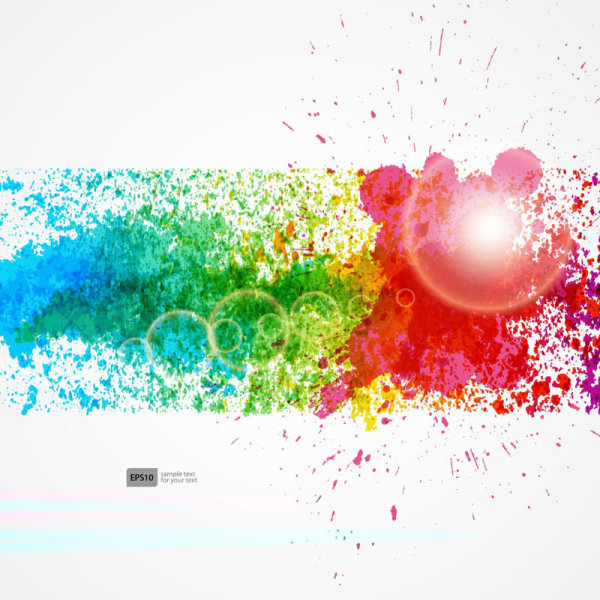 Colorful Object splash backgrounds vector 01