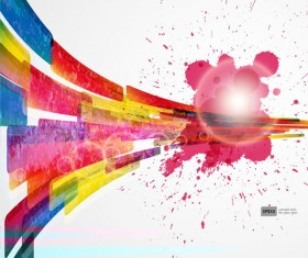 Colorful Object splash backgrounds vector 03