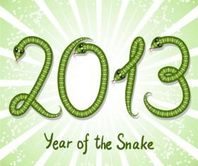 Shiny green 2013 Snake Year design elements 03