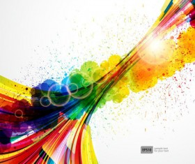 Colorful Object splash backgrounds vector 04