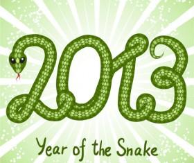 Shiny green 2013 Snake Year design elements 04