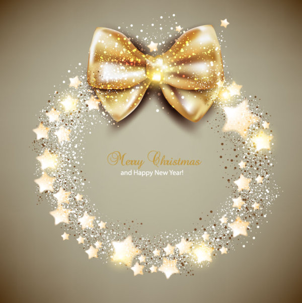 Ornate Christmas cards with Bow vector material 02