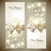 Link toOrnate christmas cards with bow vector material 03