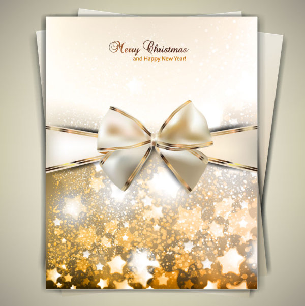 Ornate Christmas cards with Bow vector material 04