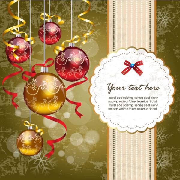Christmas ornaments with greeting card background vector 01