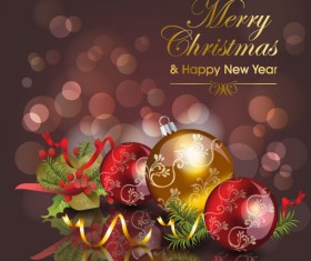 Christmas ornaments with greeting card background vector 04