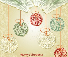 Set of floral Christmas card vector 03