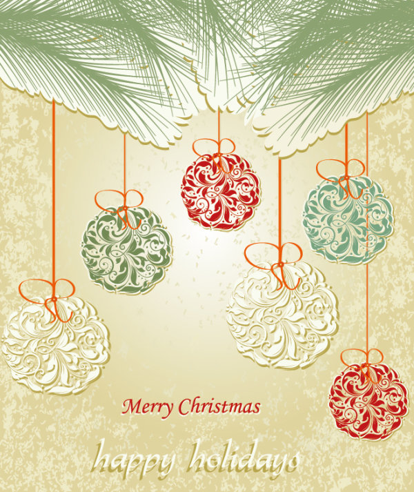 Set of floral Christmas card vector 03 - Vector Card, Vector Christmas, Vecto...