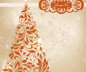 Set of floral Christmas card vector 04