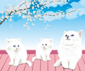 Cute white Pussycat design vector