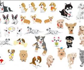 Various cute dog element vector 01