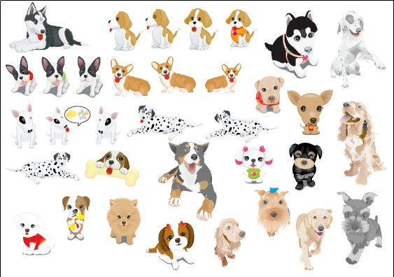 Various cute dog element vector 01