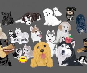 Various cute dog element vector 02
