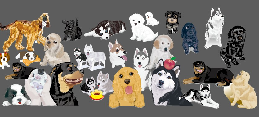 Various cute dog element vector 02