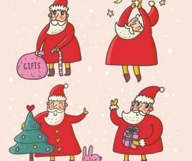 Cute Santa Claus cards design vector 02