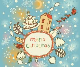 Cute Santa Claus cards design vector 03