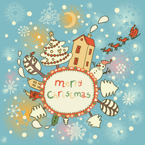 Cute Santa Claus cards design vector 03