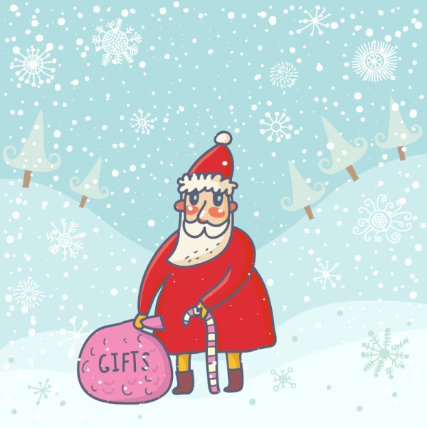 Cute Santa Claus cards design vector 04